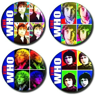 "THE WHO/ MOD/60'S LEGENDS/ SET OF 4 X (1""/ 25 mm) POP ART RETRO BUTTON BADGES"