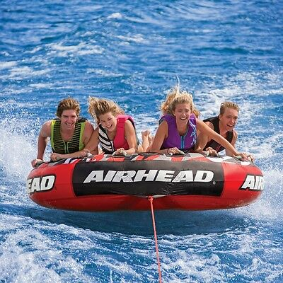 Airhead Mega Slice Flat Inflatable Water Tube 4 Rider Boat Tow Towable AHSSL-4