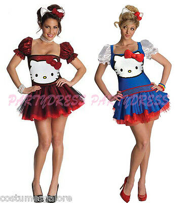 Ladies Costume Fancy Dress Up (2007) Cute Hello Kitty Red or Blue Sz 6 8 10