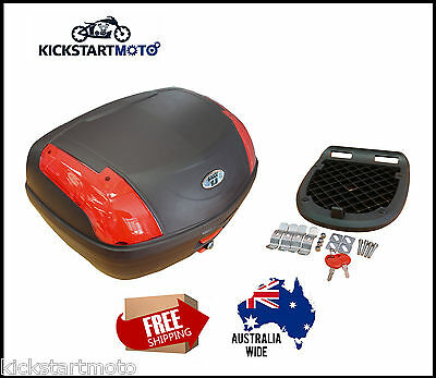 Large 52L Motorbike Topbox Rear Storage Luggage Top Box Honda Yamaha Suzuki