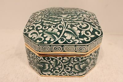 Beautiful Hand Painted Green and White Porcelain Box From Thailand Trinket