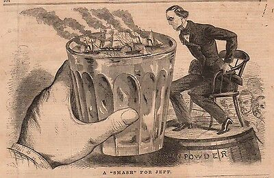 1861 Harpers Weekly Print - Jefferson Davis gets smashed