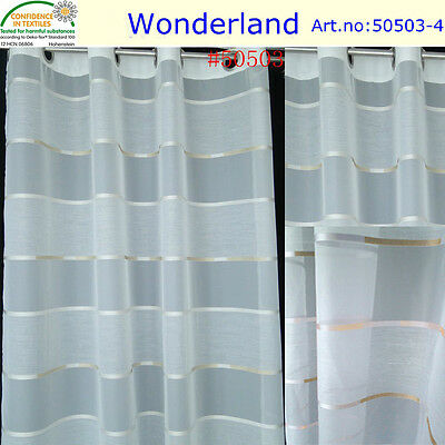curtain 2pc sheer voile eyelet curtains with color stripe