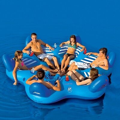 SportsStuff Pool N' Beach Lounge PVC Inflatable Water Tube Raft 6 Person 54-1985