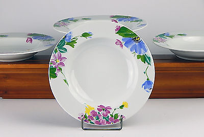 4 Soup Bowls, NEAR MINT! Imperial, Blue Yellow Pink Green Flowers Butterfly