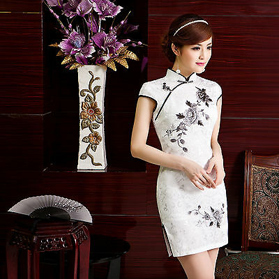 Traditional Chinese Cheongsam Cheong-Sam Qipao Dress white  w embroidered flower