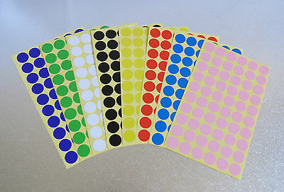 15mm Round 8 Colour Dot Sticker Circle Sticky Self Adhesive Label