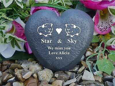 Guinea Pig Pet Memorial - Personalised Stone Heart (Stone Effect)