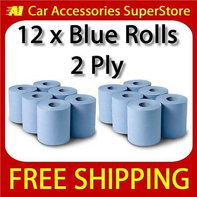 2 Ply Blue Centre Feed Paper Wipe Roll Pack Of 12 Massive 120mtr Rolls
