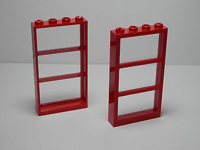 LEGO  LEGOS  -  Set of  2  NEW 1 x 4 x 6 RED   Window 3 Panes with CLEAR  Glass