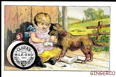 RARE 1890s CLARK'S MILE END THREAD VICTORIAN TRADING CARD YOUNG GIRL WITH DOG