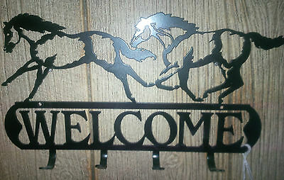 Welcome Sign Running Horse Key Hook