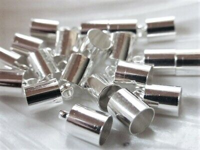20 x Brass Cord Ends Silver Plated 9.5mm x 6mm Cord Tips End Caps Terminators