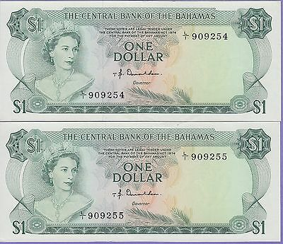 "Bahamas-(2) 1 Dollar ""Consecutive"" Banknotes 1974 Choice Extra Fine Cat#35-A"