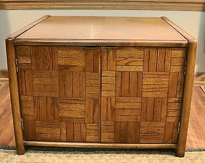 Vintage LANE Mid Century Modern End Side Lamp Table with Doors / Storage - Retro