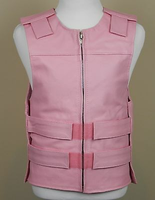 Traditional Style With Side Lace Motorcycle Vest Unisex Baby Pink Leather