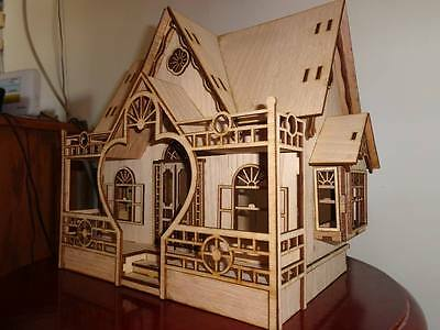 Beautiful Dollhouse plans DXF EPS laser cutter CNC router, scale 1:24 ...