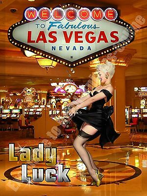 Lady Luck, Las Vegas Casino, Pin-up Girl, Holiday, Advert, Small Metal Tin Sign
