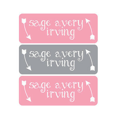 Waterproof Name Labels, Baby Bottle, Daycare, School, Pink, Gray, Arrows, Girl