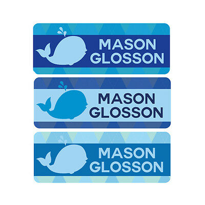 Waterproof Name Labels, Baby Bottle, Daycare, School, Blue, Whale, Argyle, Boy