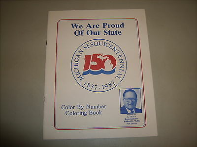 Vintage Michigan Sesquicentennial 1837-1987 Color By Number Coloring Book