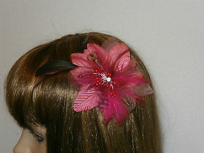 Cerise Pink Silk Flower and Feather Fascinator / Hair Comb Wedding Bridal Prom*