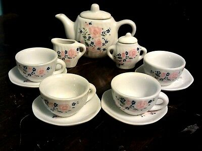 Mini Porcelain Tea Set for 4 Child's Dishes 13 piece Pink Rose McCrory Imports