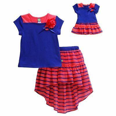 """Dollie Me Sz 7-10 and 18"""" doll matching  dress outfit clothes fit american girl"""