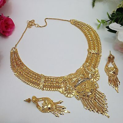 Indian Costume Fashion Jewellery Party Wear 22ct Gold Pated Necklace Set