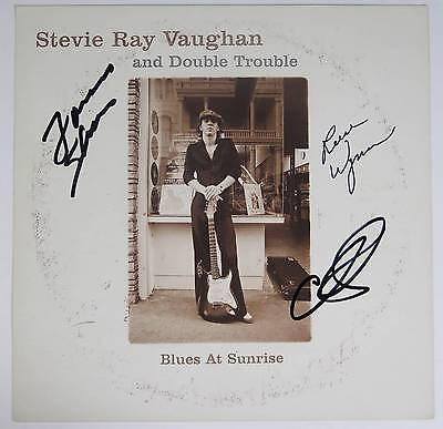DOUBLE TROUBLE Signed Autograph Album LP Flat Poster by All 3 Stevie Ray Vaughan