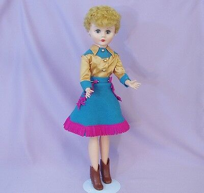 """24"""" COWGIRL DOLL by DELUXE READING c1960 ORIGINAL CLOTHES"""