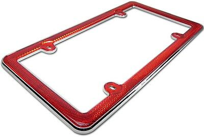 Red Reflector & Chrome Plastic License Plate Frame Car,Truck,Auto,RV Tag Holder