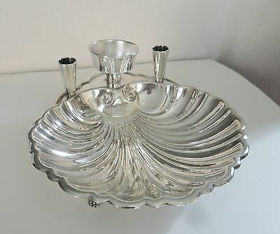 Large Scalloped Shrimp Cocktail Dish Silver Plated Sheffield Silver Company 60's
