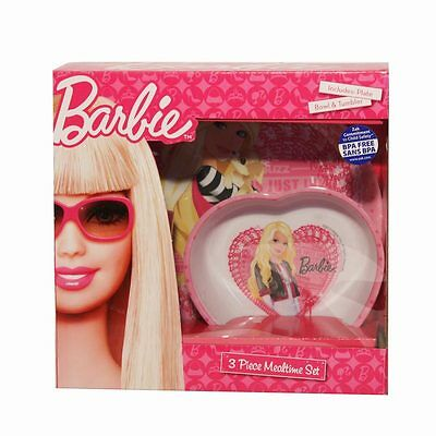 Barbie Kids Melamine Mealtime Feeding Dinner Set Plate Bowl Cup