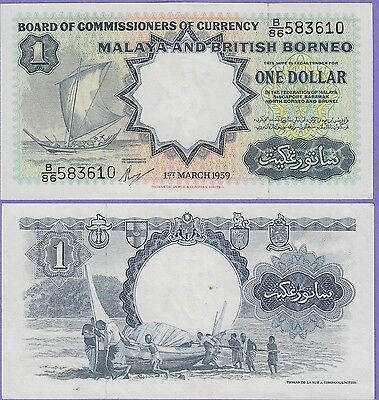 Malaya & British Borneo 1 Dollars Banknote 1959 About Uncirculated Cat#8-A-7649