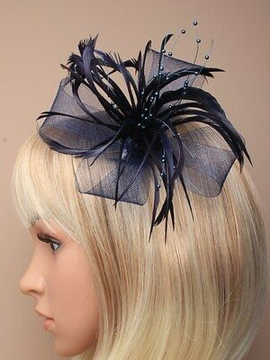 Navy Blue Looped Net & Bead Detail Feather Fascinator on Hair Clip, Brooch pin