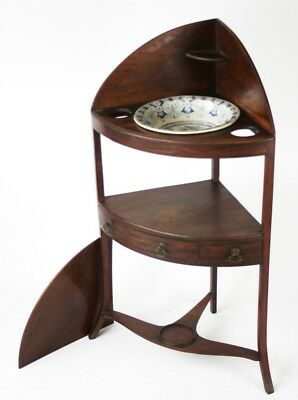 Antique Georgian Mahogany Corner Washstand and Ridgway Wash Bowl [PL620]