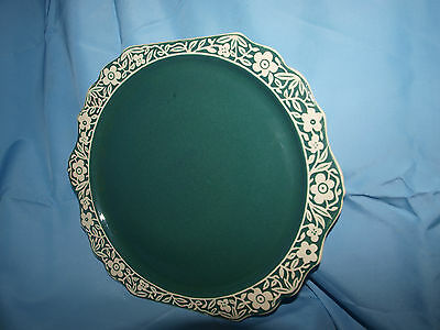 Vintage  Harkerware Pate sur Pate  Ceramic Green and White Large Plate 12""