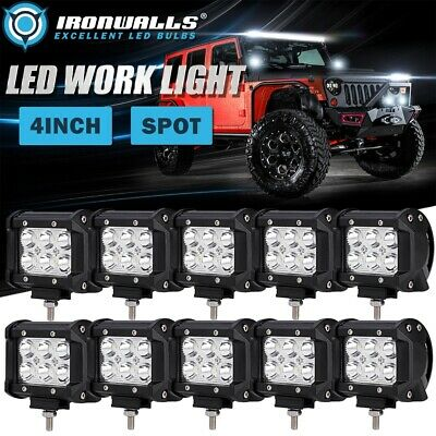 10pcs 4INCH 18W CREE LED Work Light Bar Spot Driving Offroad ATV UTE Truck 5""