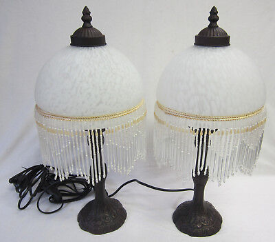 2 White Glass Ornate Beaded & Fringed Table or Bedside Lamps & Brown Lamp Base