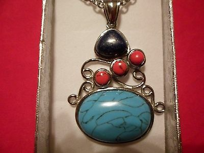 "Blue & Red Howlite, Lapis Lazuli Pendant w/20"" Chain in Stainless Steel-31.00CTW"