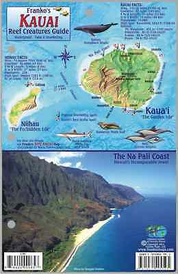 Kauai Hawaii Map & Reef Creatures Guide Laminated Fish Card by Franko Maps