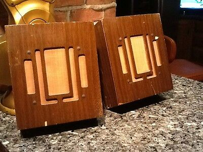 """2 Vintage Quam 8"""" Speakers no 8A4 512 In Original Wood Wall Cabinets. Good"""