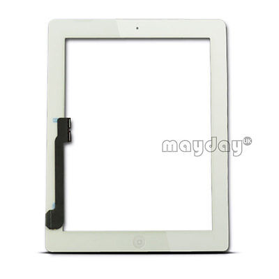 WHITE TOUCH SCREEN REPLACEMENT DIGITIZER FOR IPAD 3 3rd/4 + HOME BUTTON+ADHESIVE