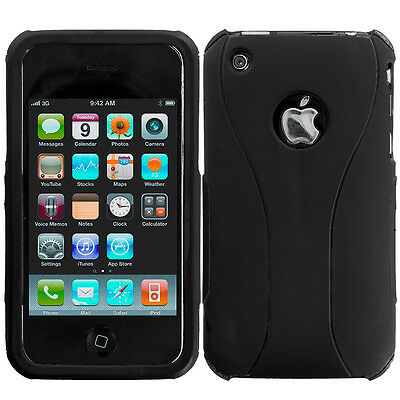 For Apple iPhone 3G 3GS Hard Snap-on Rubberized Case Cover Black