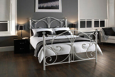Sherry Metal Bed Frame With Crystal Finials Now Available In White And Black