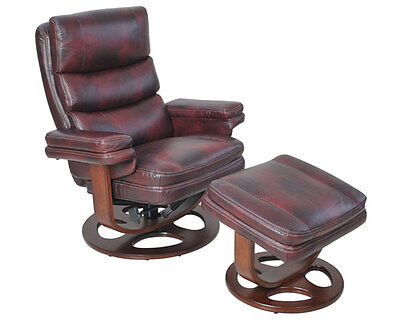 Barcalounger Bella II Genuine Plymouth Mahogany Leather Recliner and Ottoman