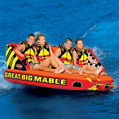 SportsStuff Great Big Mable Inflatable Water 4 Rider Tube Boat Towable 53-2218