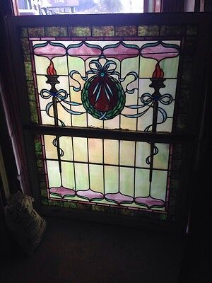 "Sg 58 Antique Stained Glass Landing Window Torch And Wreath Design 44.5"" X 55.5"""