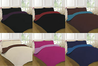 2 Tone Reversible Duvet Cover Set Fitted Sheet Single Double Super King Size New